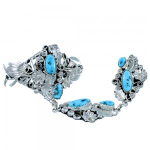 Native American Sterling Silver And Turquoise Scalloped Leaf Slave Bracelet RX108424
