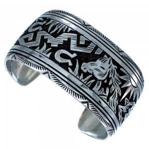 Authentic Sterling Silver Native American Horse Water Wave Cuff Bracelet RX108455