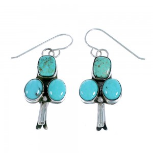 Navajo Indian Turquoise Squash Blossom Sterling Silver Hook Dangle Earrings RX108506