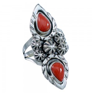 Genuine Sterling Silver Navajo Coral Tear Drop Ring Size 6-3/4 SX108606
