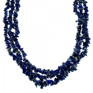 Sterling Silver And Denim Lapis Navajo 3-Starnd Bead Necklace SX108733