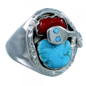 Turquoise And Coral Sterling Silver Effie Calavaza Zuni Ring Size 7-3/4 RX108842