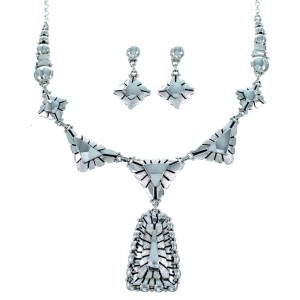 Navajo Authentic Sterling Silver Link Necklace And Earrings Set SX109201