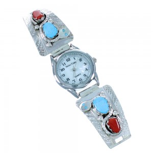 Turquoise And Coral Effie Calavaza Zuni Snake Sterling Silver Watch SX109370