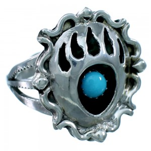 American Indian Sterling Silver Turquoise Bear Paw Ring Size 5-3/4 RX109544
