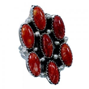 Authentic Sterling Silver Red Oyster Shell Navajo Indian Ring Size 8-1/2 RX109521