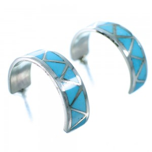 Zuni Indian Turquoise Inlay Genuine Sterling Silver Post Hoop Earrings SX110067