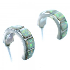 Sterling Silver And Opal Zini Indian Post Hoop Earrings SX110071