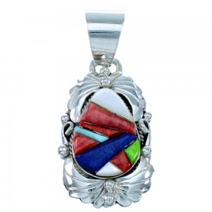 Multicolor Navajo Sterling Silver Cobble Inlay Pendant SX109739