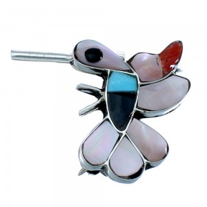 Multicolor Inlay Hummingbird Zuni Sterling Silver Pin Pendant SX109797