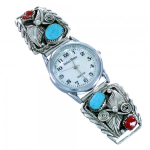Navajo Sterling Silver Leaf Turquoise And Coral Watch SX109867