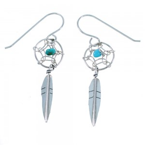 Navajo Sterling Silver Turquoise Dream Catcher Feather Hook Dangle Earrings SX110056