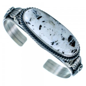 Navajo White Buffalo Turquoise And Old Pawn Style Sterling Silver Cuff Bracelet SX110516