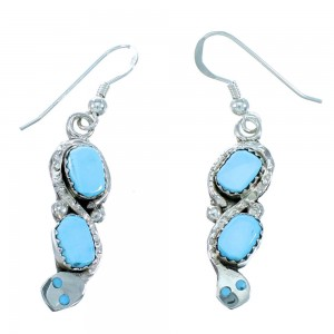 Zuni Effie Calavaza Turquoise Snake Hook Dangle Earrings RX110724