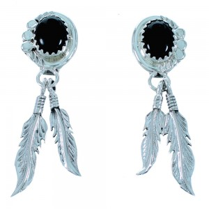 Authentic Sterling Silver Feather Native American Onyx Post Dangle Earrings RX110940