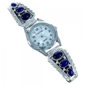 Navajo Lapis And Genuine Sterling Silver Watch SX105474