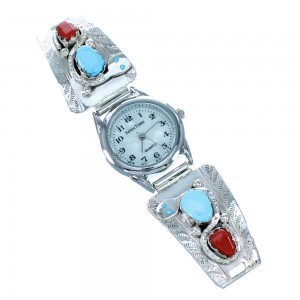 Sterling Silver Effie Calavaza Snake Turquoise And Coral Watch SX110958
