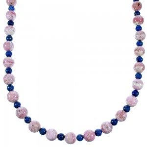 Rhodochrosite Lapis Sterling Silver Navajo Bead Necklace RX111002