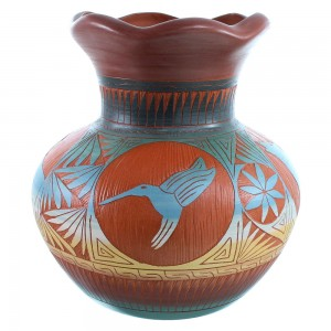 Navajo Hand Crafted Wolf And Hummingbird Pot By Marilyn Kinliche SX111125