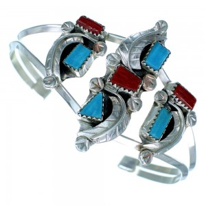 Turquoise And Coral Sterling Silver Zuni Leaf Cuff Bracelet RX111318