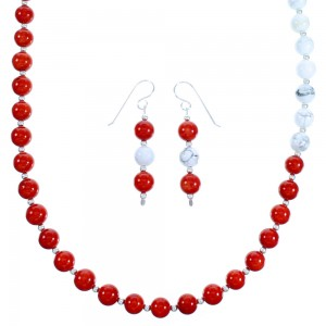 Sterling Silver Navajo Howlite And Coral Bead Necklace And Earrings LX114027