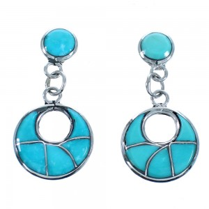 Zuni Turquoise Inlay Sterling Silver Post Dangle Earrings SX115572