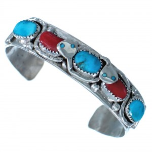 Coral Turquoise Snake Zuni Indian Cuff Bracelet RX117407