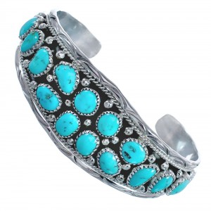 Turquoise and Sterling Silver Authentic Navajo Cuff Bracelet CB118366