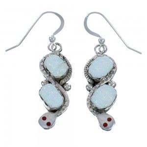 Opal and Coral Zuni Effie Calavaza Silver Snake Hook Dangle Earrings BX119030