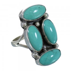 Navajo American Indian Turquoise Silver Ring Size 6-1/4 YX72662