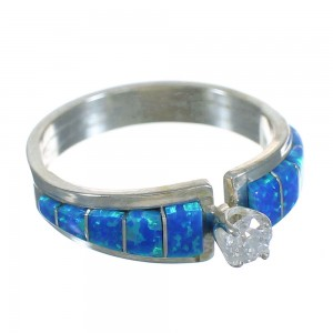 Zuni Indian Silver Blue Opal And Cubic Zirconia Ring Size 6 YX72924