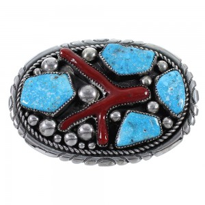 Turquoise And Coral Silver Zuni Belt Buckle AX73405