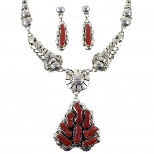 Coral And Sterling Silver Native American Link Necklace Set WX74384