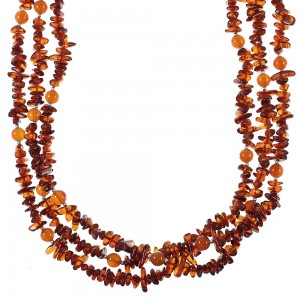 Amber And Carnelian Navajo Indian Silver Bead Necklace AX77705