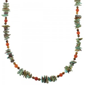 Native American Multicolor Sterling Silver Bead Necklace WX76973