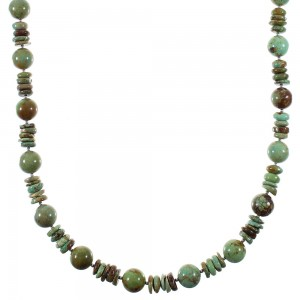 Native American Silver Kingman Turquoise Bead Necklace QX76815
