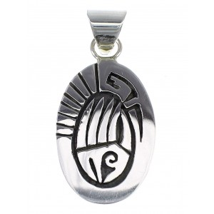 Bear Paw Water Wave Sterling Silver Native American Calvin Peterson Pendant QX77887