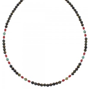 Genuine Sterling Silver And Multicolor Navajo Bead Necklace RX85921