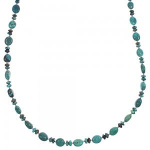 Turquoise Genuine Sterling Silver Native American Bead Necklace RX89028