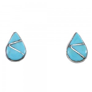 Turquoise And Sterling Silver Zuni Tear Drop Post Earrings AX89878