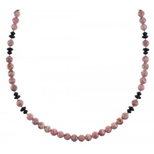 Rhodochrosite And Onyx Navajo Genuine Sterling Silver Bead Necklace AX91514