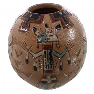 Miniature Native American Kachina Pot by Navajo Artist Nancy Chilly KX92775