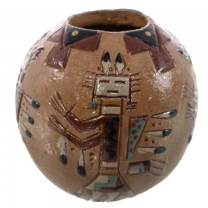 Miniature Native American Kachina Vase by Navajo Artist Nancy Chilly KX92776