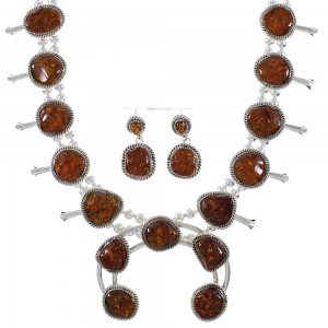 Navajo Amber And Genuine Sterling Silver Squash Blossom Necklace Set AX93727