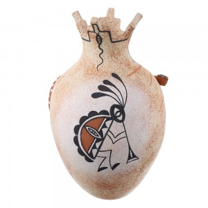 Native American Vase - Gecko Kokopelli Hand Crafted Zuni Pottery By Artist Tony Lorenzo YX97364