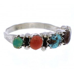 Sterling Silver Multicolor Zuni Jewelry Ring Size 6-1/4 BW75521