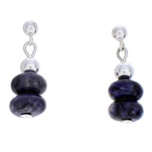 Navajo Indian Silver Purple Agate Jewelry Bead Earrings MW77151