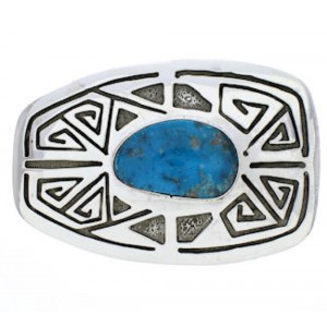 Native American Birds Eye Turquoise Water Wave Belt Buckle EX22897