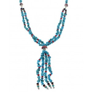 Navajo Indian Silver Turquoise Multicolor Bead Necklace PX33723