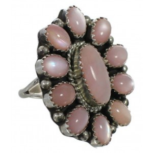 Sterling Silver Pink Shell American Indian Ring Size 7-3/4 EX26309
